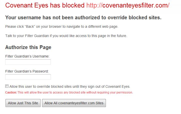Covenant eyes review Blocked sie